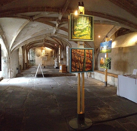 3 artists exhibiting in a 13th century crypt with Art Posts